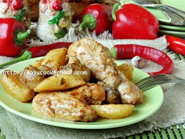 Как запечь куриное филе в духовке с картошкой и грибами