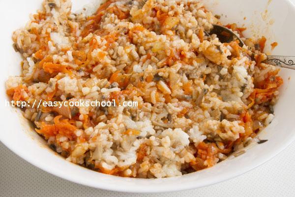 Постные голубцы с рисом и грибами