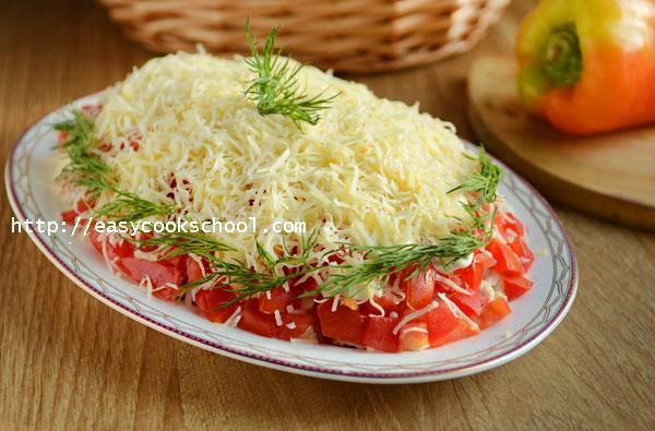 Курица салат помидоры